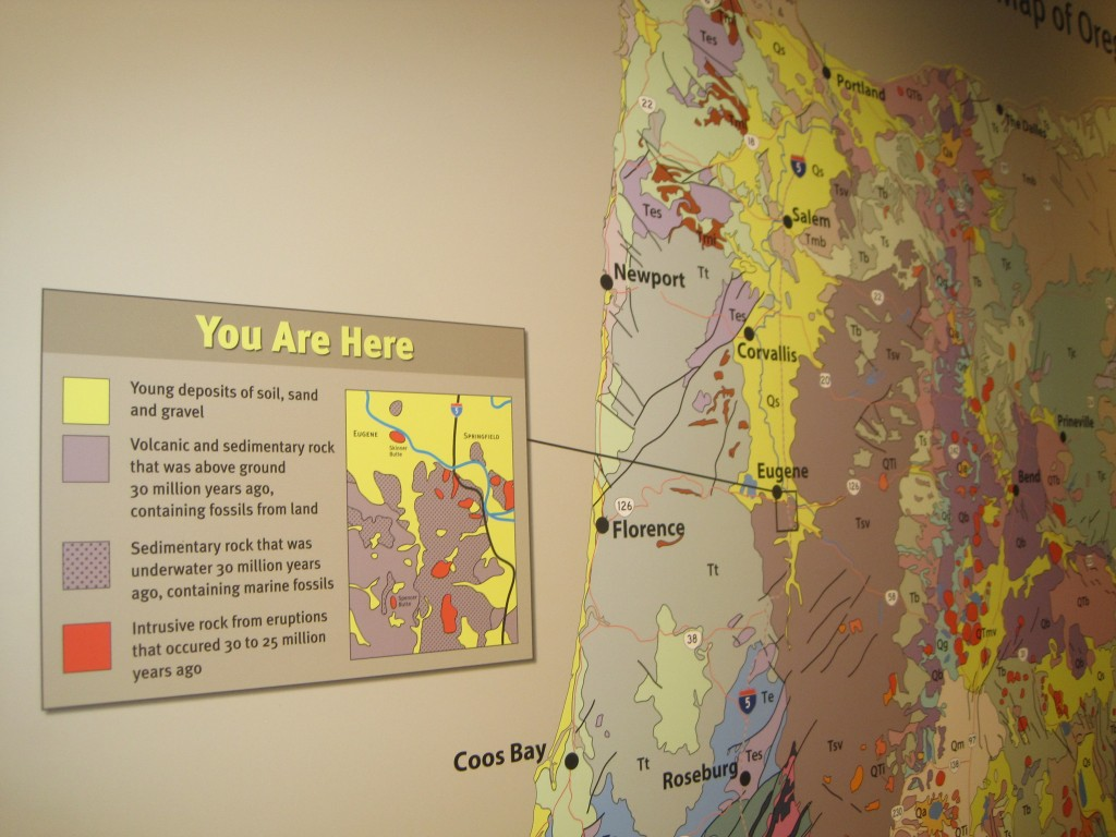 An exhibit at the University of Oregon Museum of Natural and Cultural History places Eugene in its larger geologic context. Photo by Vanessa Salvia