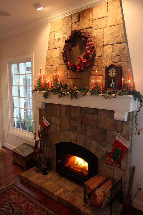 Wooden Christmas tree candleholders have graced Trudi and Dan Diffendaffers' living room mantel every year since the 1980s, making them one of the household's newer holiday decorating traditions.