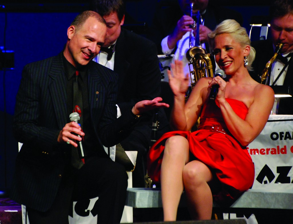 Siri Vik and Michael Stone performing with the Emerald City Jazz  Kings at The Shedd.