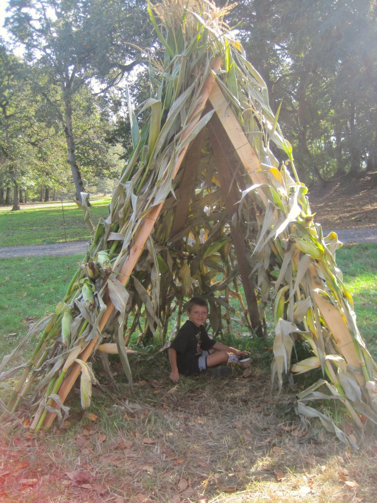 Kids can play in teepees made from corn stalks. Photo by Vanessa Salvia