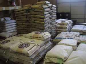 Bagged flour in the Camas Country Mill warehouse is ready to be distributed. Photo by Vanessa Salvia