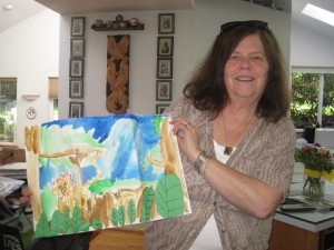 Camille Ronzio holds art drawn for her by her 6-year-old granddaughter. Photo by Vanessa Salvia