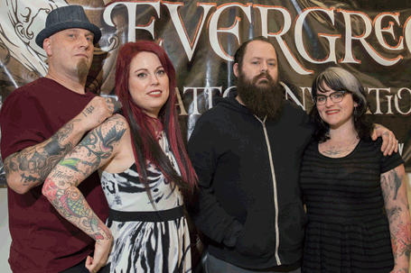 From left to right, Riley Smith, Smith's wife, Erin Rust Smith, and Joshua Carlton and his wife, Nikki organized the Evergreen Tattoo Invitational. Photo by Eugene Johnson