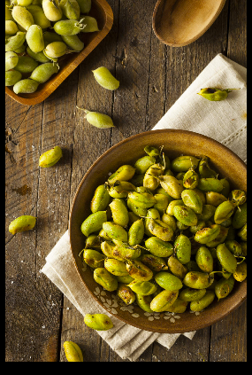 – In-the-pod chickpeas are shown in both a fresh, green, just-picked state (upper left) as well as roasted.