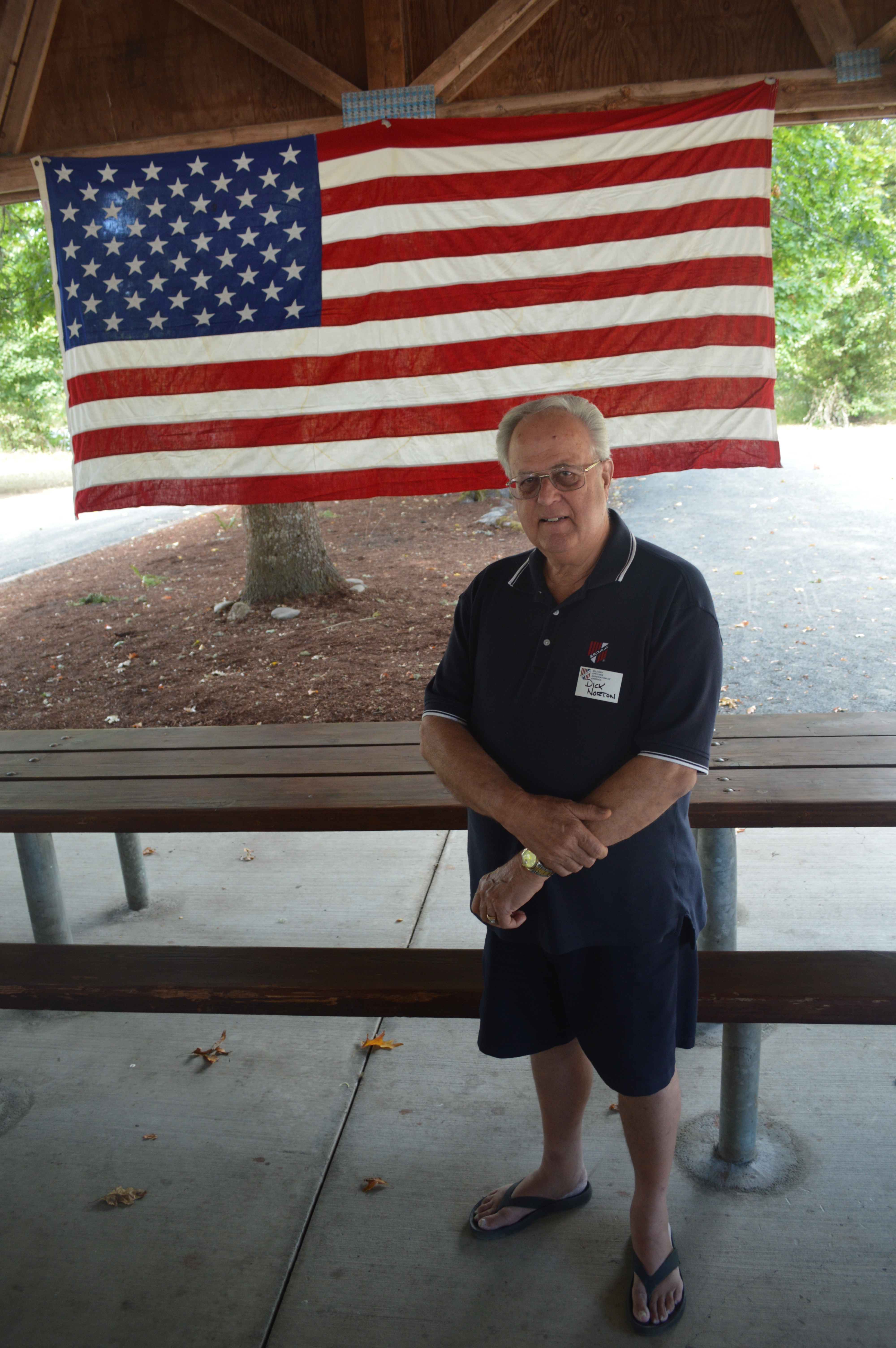 Lt. Col. Dick Norton retired from the U.S. Air Force. He is president of the Emerald Empire (Eugene) chapter of the Military Officers Association of America and gave opening remarks at the September picnic attended by chapter members and their families. Photo by Vanessa Salvia.